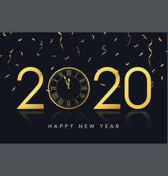 2020 new year card with gold clock vector image