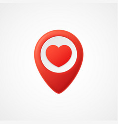 3d map pointer with heart icon map markers vector image