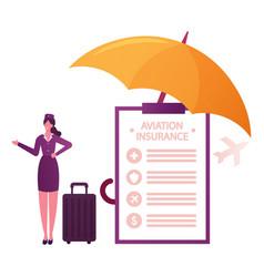 Aviation insurance concept stewardess character vector