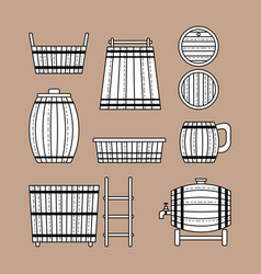 Barrel products flat objects vector