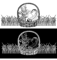 Basket-with-Fruits black white vector