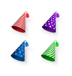 birthday hat set colorful birthday hats with vector image