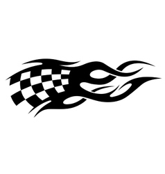 Black and white checkered flag in motion vector image