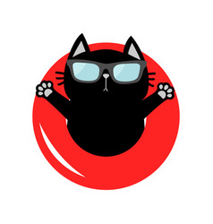 Black cat floating on red air pool water circle vector