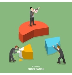 Business cooperation isometric flat concept vector