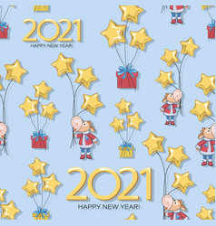 calf pattern bull new year 2021 vector image