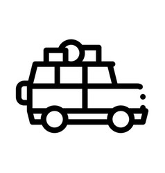 Camping car with luggage icon outline vector