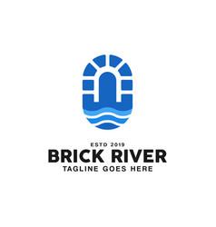 Canal waterway brick bridge logo design inspiratio vector