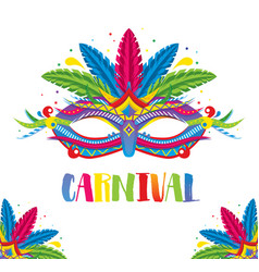 carnival mask with feathers isolated on white vector image