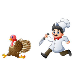 Cartoon chef chasing a turk vector