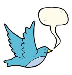 cartoon flying bird with speech bubble vector image