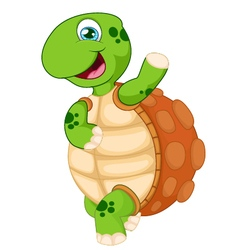 Cartoon turtle waving hand isolated on white vector image