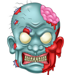 cartoon zombie head icon vector image