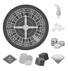 Casino and gambling monochrome icons in set vector