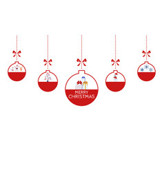christmas ornaments hanging with ribbon isolated vector image