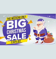 Christmas sale banner with classic santa claus vector