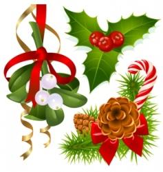 Christmas tree mistletoe and vector image
