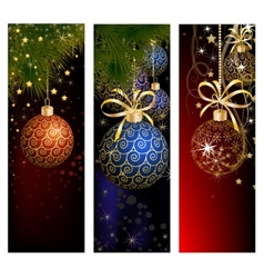 Christmas website banner set decorated with Xmas vector image
