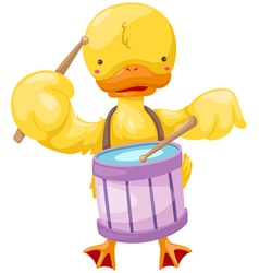 Circus duck play drum vector