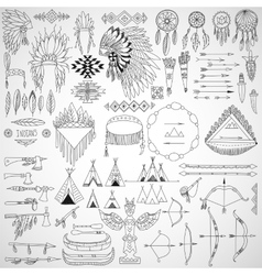Collection of tribal doodle design elements frames vector image