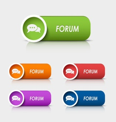 Colored rectangular web buttons forum vector