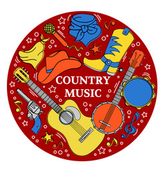 country music sticker western festival illu vector image