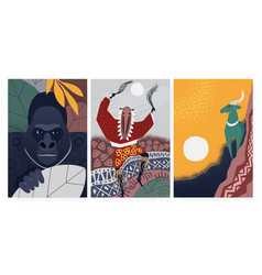 culture symbols from africa set ethnic decorative vector image