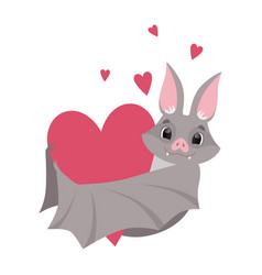 cute bat with red heart gray funny creature vector image