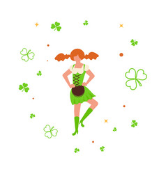 cute cartoon girl leprechaun dancing vector image