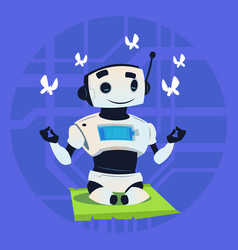 cute robot happy smiling meditation modern vector image