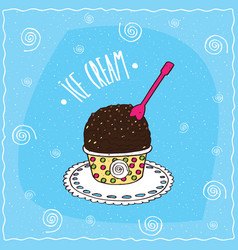 Dark chocolate scoop of ice cream in cup vector