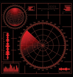 Digital radar screen with globe vector