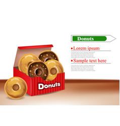 donuts box realistic 3d deliclous dessert vector image
