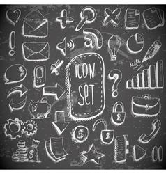 doodle set vintage internet icons vector image
