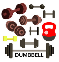 dumbbell barbell set kettlebells sport vector image