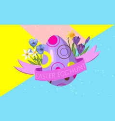 easter egg hunt with decorated egg ribbon and vector image