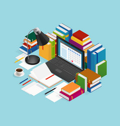 educational books isometric vector image