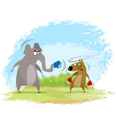Elephant and wolf boxing vector