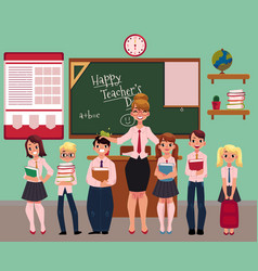 Female teacher standing with students in classroom vector
