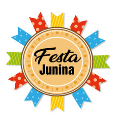 Festa junina circle frame colorful ribbon white ba vector