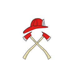 Fireman helmet crossed fire axe drawing vector
