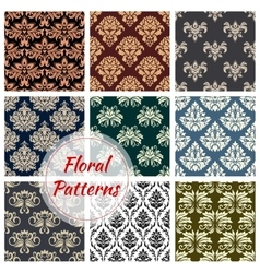 Floral patterns set of flowery ornate design vector