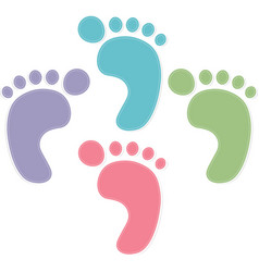 Foot prints color on white background vector