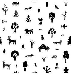 Forest animals seamless background design vector
