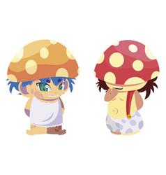 Fungus elfs magic characters vector