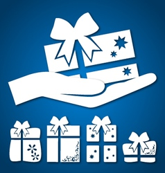 gift in hand vector image