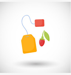 Goji berries tea flat icon vector