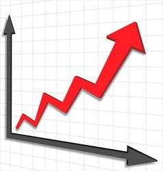 Graph chart red arrow vector image