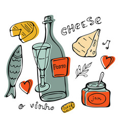Hand drawn wine collection vector