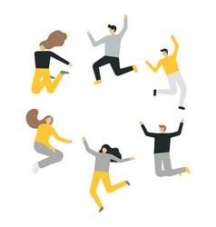happy group people jumping on a white vector image